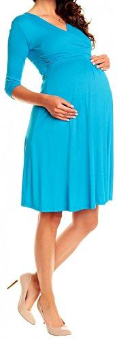 Zeta Ville - Maternité Robe grossesse manches 3/4 col en V - femme - 282Ac Cyan