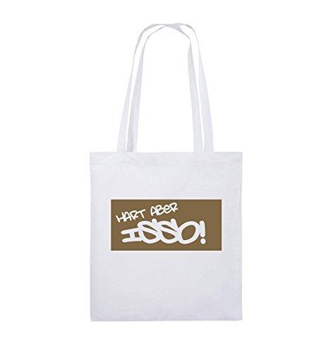 Comedy Bags - HART ABER ISSO! - Jutebeutel - lange Henkel - 38x42cm - Farbe: Schwarz / Pink Weiss / Hellbraun