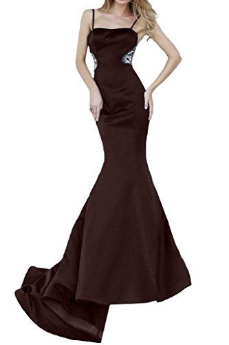 ivyd ressing Donna Spaghetti Mermaid lungo Satin Fest vestiti prom dress abito da sera Marrone