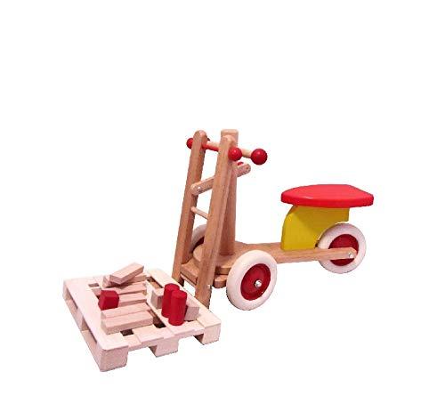 """Rutscher Stapler mit Palette \""""Maiko\"""" - mit verstellbaren Gabeln - Gabelstapler - Holzstapler - Laufrad - Kinderlaufrad - Kinderstapler - Holzrutscher - Rutschfahrzeug - Erzgebirge - NEU"""