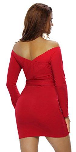 Lukis Damen Schulterfrei V Ausschnitt Bodycon Minikleid Rot