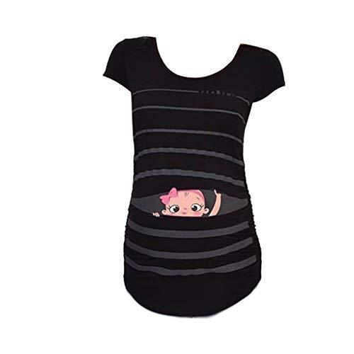 Nursing Top Damen Schwanger T-Shirt Sleeveless Schwangerschafts Umstandshirt Mutterschafts Rundkragen Tuniken Bluse Oberteile Schwangerschafts-Shirt Still-Tank Top (M, Schwarz)