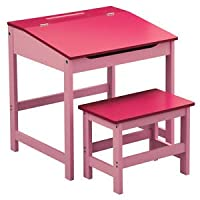 CRAVOG Children Home Reading Writing Study Table Set Storage Desk Kid Workstation Stools (Pink)