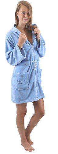 Betz Bademantel Morgenmantel Saunamantel Damen mit Kapuze und Reißverschluss Farben Creme, türkis, rosa und blau Größen XS - L Größe S/blau