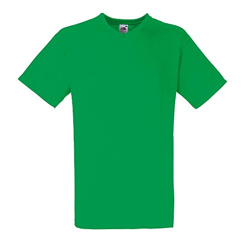 Fruit of the Loom - V-Neck T-Shirt 'Value Weight' X-Large,Kelly Green