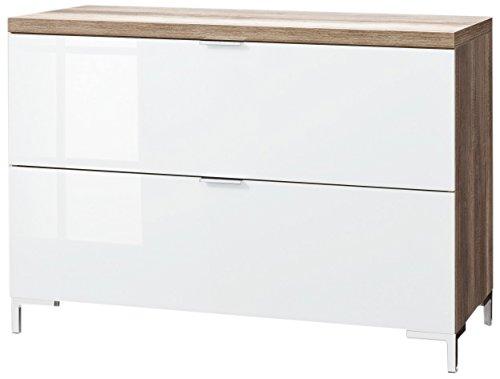 CS Schmalmöbel 45.150.505/017 TV-Board Cleo Typ 13, 109 x 50 x 76 cm, wildeiche / weißglas