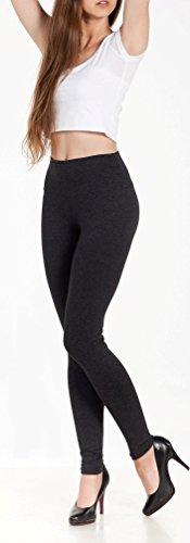 EloModa® Leggings Hoher Bund in verschiedene Farben Baumwolle mit Lycra Gr. S M L XL XXL 3XL (M/38, Grafit) (Baumwolle Lycra Leggings)