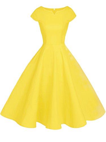 FAIRY COUPLE 1950S Retro Rockabilly Tupfen Kappen Hülsen Abschlussball Kleid DRT019(4XL,Gelb)