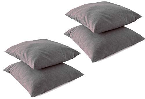 Leonado Vicenti Kissenbezug Kissenhüllen 4 Stück Baumwolle Renforce 40x40 cm Anthrazit mit Reißverschluss