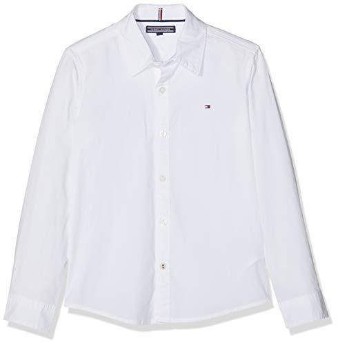Tommy Hilfiger Jungen Boys Solid Stretch Poplin Shirt L/S Hemd, Weiß (Bright White 123), 176 (Herstellergröße: 16)