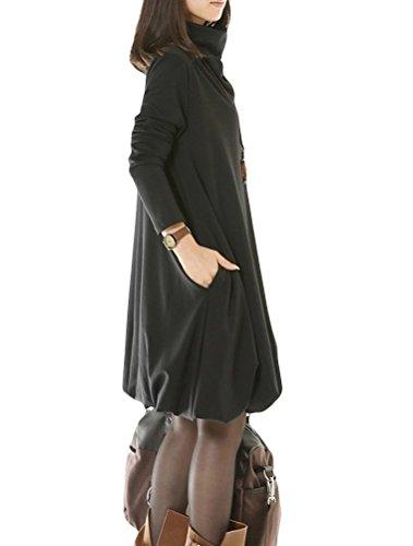 MatchLife Femme Col Roulé Manches Longues Top Noir
