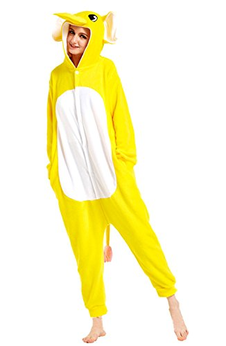 URVIP Jumpsuit Tier Cartoon Fasching Halloween Kostüm Sleepsuit Cosplay Fleece-Overall Pyjama Erwachsene Unisex Schlafanzug Tier Onesie mit Kapuze Gelb Elefant Medium