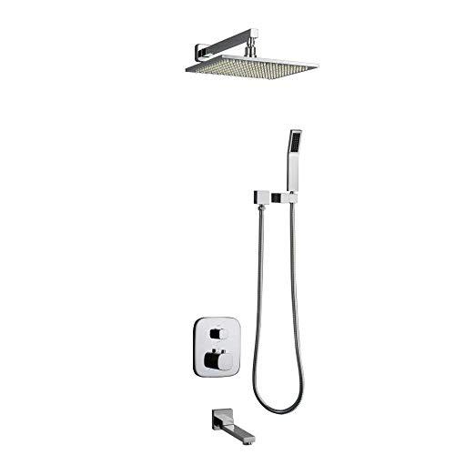 Chrome Air Gap (L.tsa Thermostat Badezimmer Moderne LED Chrom Bad Mischer Anti Verbrühungshahn Schlauch Hand Head Top Spray 3 Stück Anzug, 8 Zoll)