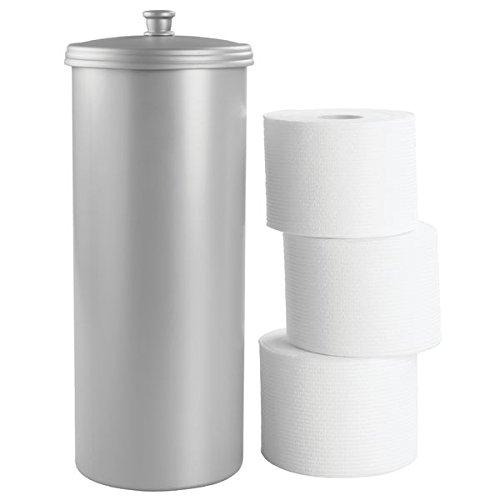 mDesign Dispensador de papel higiénico sin taladro – Decorativo portarrollos de pie – Discreto almacenaje de baño con tapa - Para 3 rollos de papel higiénico – Plástico resistente - Gris