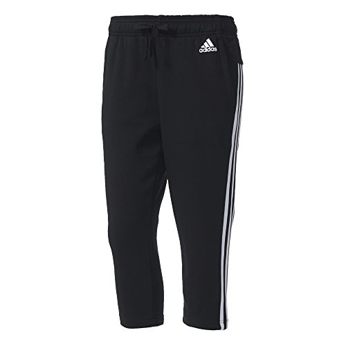 adidas Damen Essentials 3-Stripes 3/4 Hose, Black/White, XL