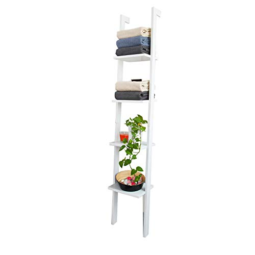 SoBuy® FRG15-W Wandregal mit Vier Böden Badregal Leiterregal Standregal Bücherregal,Breit: 33cm, weiß