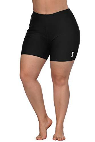 ALove Damen Badeshorts Plus Size Board Shorts mit hoher Taille Swim Bottoms Plus 0X schwarz Seahorse -