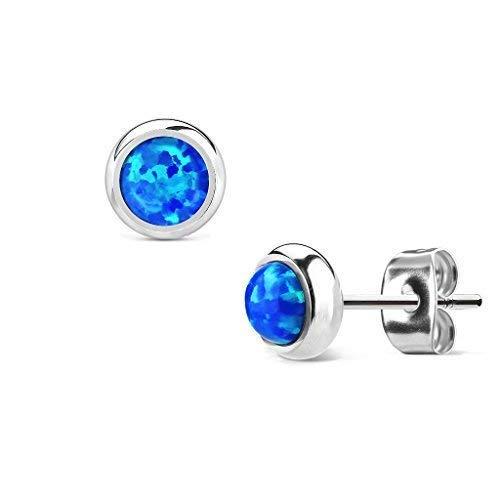 Tapsi´s Coolbodyart®  Damen Ohr Stecker Edelstahl Opal Blau