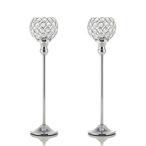 VINCIGANT Silber Kristall Kerzenhalter für Hochzeit Geschenk Haupt Dekoration Urlaub Feier,40cm&40cm Höhe