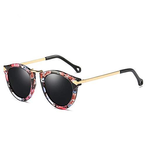 Qiutianchen Polarisierte Sonnenbrille Herren und Damen Runde Retro Polarisierte Sonnenbrille Retro Classic Light PC Frame, UV 400@Blumenrahmen schwarz grau Stück