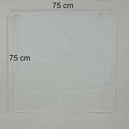 Pekitas Musselin-Tücher für Babys, 3 Stück, 100% Musselin-Baumwolle, 75x 75cm Weiß