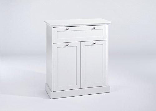 CAVADORE Kommode GREENFORD/stilvolles Sideboard mit 2 Türen und einer Schublade/Viel Stauraum/weiß/80 x 90 x 37 cm (B x T x H)