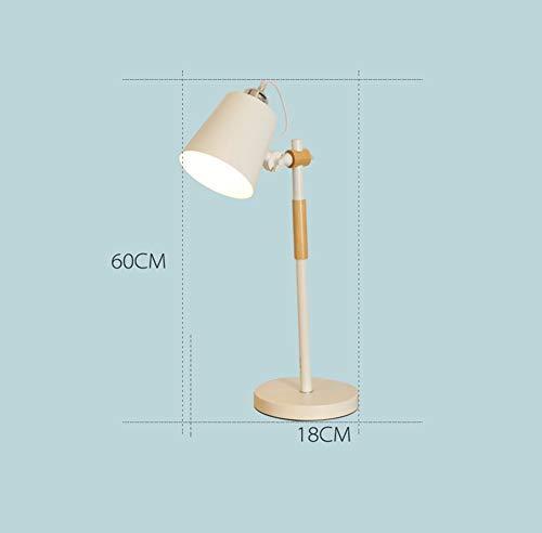 L-C Tischlampe, Massivholz Moderne Schlichtheit Nordic Teelicht Schlafzimmer Schreibtisch Führte Nachttischlampe im Japanischen Stil Energiesparend und Umweltfreundlich Modern, Weiß