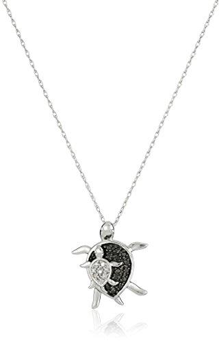 10-k-weiss-gold-schwarz-und-weiss-diamant-mutter-und-baby-schildkrote-anhanger-halskette-008-karat-4