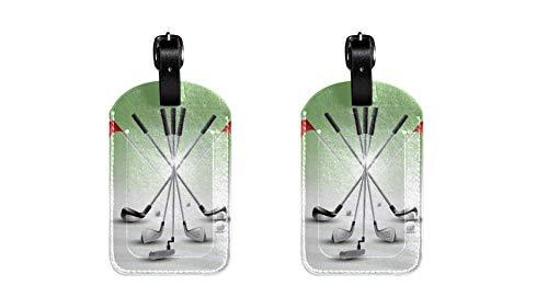 Gepäckanhänger aus PU-Leder mit realistischen Golfschläger-Set, Aufdruck, Namensschilder für Reisetasche, Gepäck, Koffer mit Sichtschutz auf der Rückseite, 2 Stück