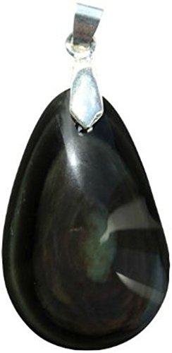 Colgante Obsidiana con anilla Celeste doble cara–Pierre Percee