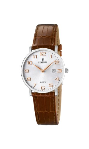 Festina Ladies Watch F16477/2 With Brown Leather Strap