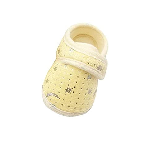 Saingace Starry Sky Printed Toddler Anti-Slip Soft Baby Shoes (Age 12~18 Month, Yellow)