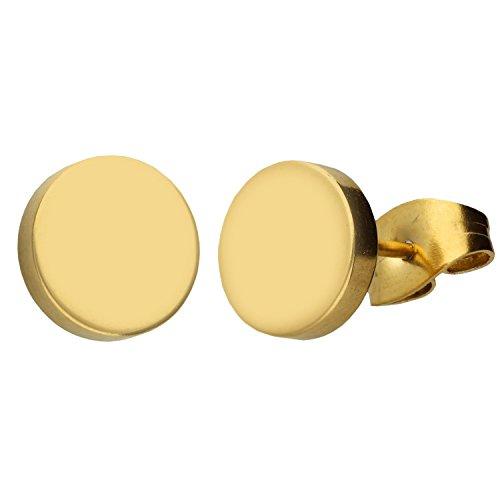 MYA art Damen Ohrringe Ohrstecker Stecker Edelstahl Vergoldet Platte mit Kreis Rund Minimalistisch Geometrische Formen Gold Glänzend 8mm MYAGOOHR-44