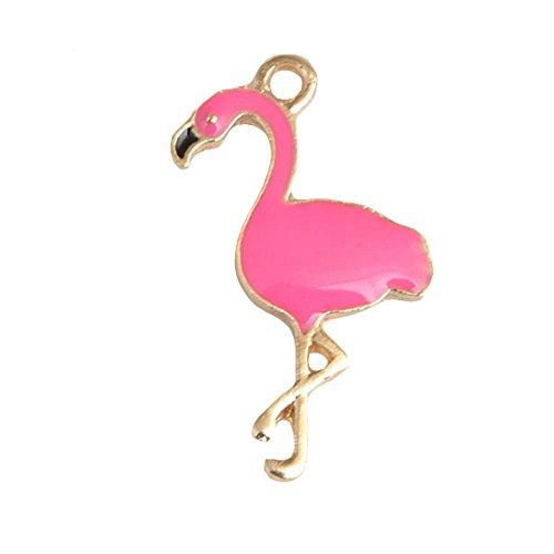 Merssavo Rosa 10x Emaille Flamingo Charm Anhänger Hang Schmuck machen Handwerk für Armband 17 * 28mm (Charm-handwerk)