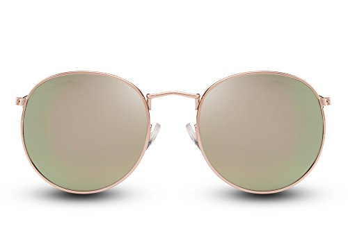 Cheapass Runde SonnenbrilleVerspiegelt UV-400 Grün Gold Festival-Brille Retro Metall Damen Mädchen