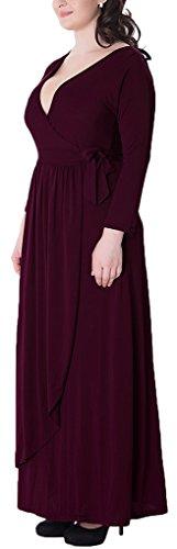 Mochoose Robe de Soirée Cocktail Party cérémonie Grande Taille Maxi Longue Col V Manches Longues Unie pour Femme Vin Rouge