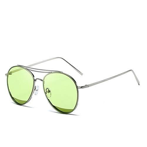 Easy Go Shopping Classic Aviator Mirrored Flat Lens Sonnenbrille Metallrahmen mit Federscharnieren Metallrahmen Sonnenbrille Sonnenbrillen und Flacher Spiegel (Color : 02Grün, Size : Kostenlos)