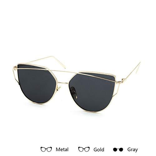 Aprigy - Fashion Marken Sonnenbrillen für Frauen Gläser Cateye Sonnenbrille entspiegelte Optik Rose Gold Mirror Lady Sun-Glas-Mann [J]