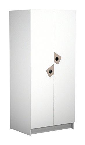 Ateliers T4 Anniversaire Armoire avec 2 Portes Laqué Blanc/Châtaigne