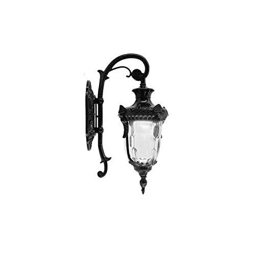 Hai Ying ♪ 1-Light-Außenwandlaterne klares Wasserglas Schatten Aluminiumguss-Gehäuse E27 Außenwandleuchte Wandleuchten IP55 Wasserdicht bewertet (Farbe: Schwarz-Höhe 42 cm) ♪ (Esstisch Wassergläser)