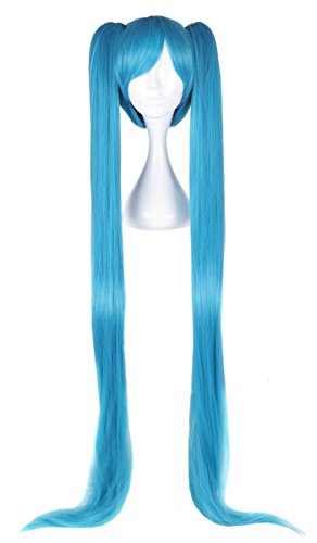 (CoolChange Hochwertige Miku Hatsune Perücke mit Super Langen Zöpfen in Blau)