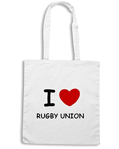 T-Shirtshock - Borsa Shopping TRUG0022 i love rugby union fitted logo Bianco