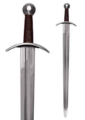 Battle-Merchant Schwert Mittelalterliches Kreuzritterschwert, inkl. Scheide Echt Metall Erwachsene