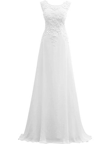 JAEDEN Ballkleider Lang Abendkleider A Linie Chiffon Brautjungfer Kleid Festkleid Spitze Weiß EUR40