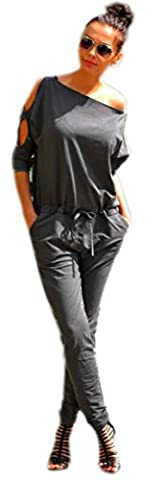 Damen Sommer Jumpsuits Overall Damen Elegant Sweat Black Schwarz Grau Langarm Eleganter Overall 36 38 40 (Grau)