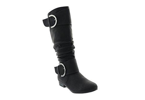 Stiefelparadies Klassische Damen Stiefel Langschaftstiefel Velours Schnallen Blockabsatz Damenstiefel Schuhe 123354 Schwarz 40 Flandell