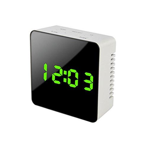 SO-buts Spiegelwecker, HD-Radiowecker / Radiowecker, digitaler Wecker, Doppelwecker mit USB-Ladeanschluss, großes LED-Display mit Zeitspeicherfunktion, 12/24 Stunden, Backup-Batterie für Stromausfall. (Grün)