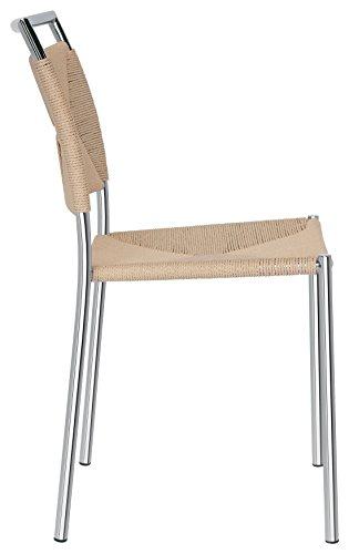 Brianza outlet fabiola sedia di design impagliata, metallo, beige, 41 x 44 x 84 cm