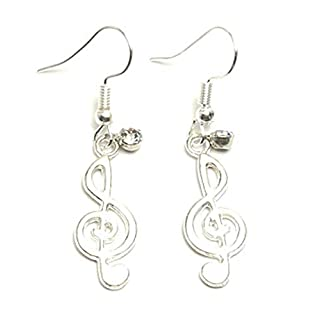 Fashion Trendy Music Note Dangle Fish Hook Music Earrings For Women / AZAEDM405-ASC