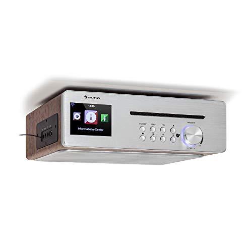 """auna Silverstar Chef Küchenradio, Unterbauradio, 10W RMS / 20W max, CD-Player, Bluetooth-Funktion, Radio: Internet/DAB+/UKW, 2,4\"""" TFT Farbdisplay, USB-Port, AUX-Eingang, Silber"""